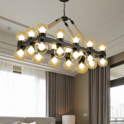 24 Lights Clear Glass Linear Pendant Vintage Black Molecule Living Room Island Lamp