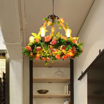 Black 6 Bulbs Pendant Chandelier Industrial Metal Bare Bulb LED Rose Ceiling Hang Fixture for Restaurant