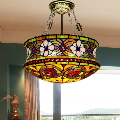 Floral Semi Flush Mount Tiffany Style Stained Glass 5 Lights Brown Ceiling Light Fixture