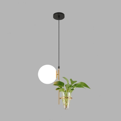 Globe Milk White/Smoke Grey Glass Hanging Pendant Light Industrial 1 Head Living Room Suspension Lamp in Black/Gold with Plant Decoration
