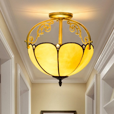 Tiffany Scalloped Semi Flush Light Fixture 2 Lights Stained Glass Ceiling Lighting in Yellow