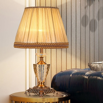 Urn Shape Crystal Nightstand Lamp Retro Single Bulb Bedroom Table Light In Beige Beautifulhalo Com