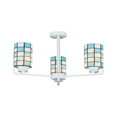 White/Black Cylinder Semi-Flush Mount Light Tiffany 3/6/8 Lights Cut Glass Ceiling Flush for Living Room