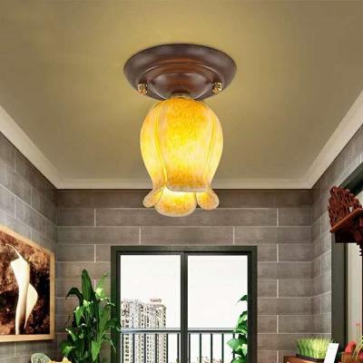 1 Bulb Flower Ceiling Light Pastoral White/Yellow/Purple Glass LED Flush Mount Lamp for Hallway