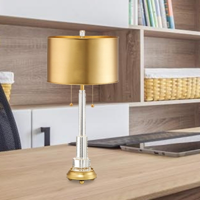 1 Head Cylinder Table Lamp Traditional Gold Metal Nightstand Light with Beveled Crystal Prism