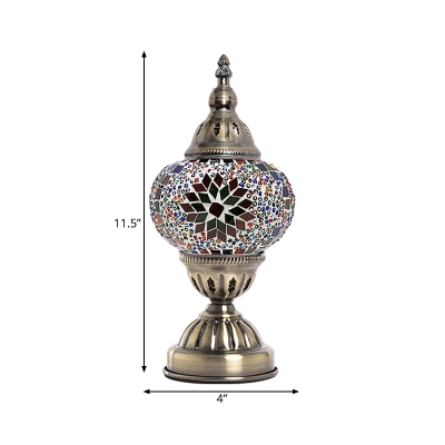1 Light Tower Shape Table Lamp Art Deco Purple/Red and Green/Red and Blue Stained Glass Night Light for Bedroom