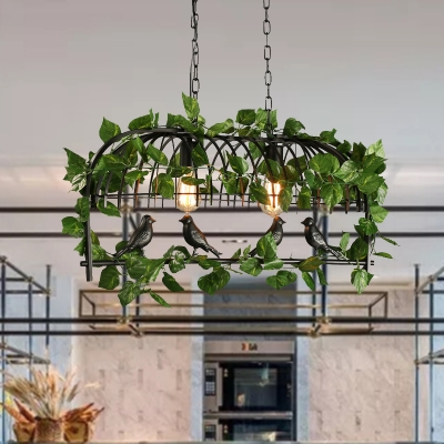 Black 2 3 4 Heads Island Lamp Industrial Metal Birdcage Plant Hanging Ceiling Light For Restaurant Beautifulhalo Com