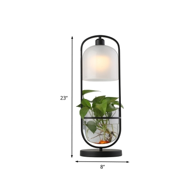 Dome Metal Night Table Light Antique LED Living Room Plant Nightstand Lamp in Black