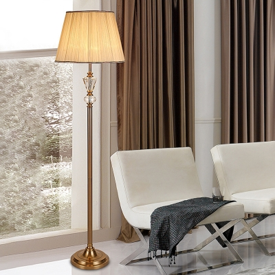 Fabric Tapered Floor Light Classic 1 Head Living Room Stand Up Lamp in Beige with Crystal Accent