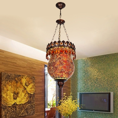 Stained Glass Jar Shaped Hanging Light Art Deco 1 Light Corridor Ceiling Suspension Lamp in Copper