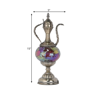 Teapot Shaped Bedroom Night Table Lamp Vintage Stained Glass 1 Bulb Pink/Purple/Blue and Purple Nightstand Light