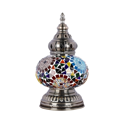 Tower Shape Bedroom Table Lamp Mediterranean Stained Glass 1 Head Blue/Red and Blue Nightstand Lamp
