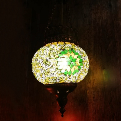 1 Head Suspension Pendant Traditional Ball Pink/Yellow/Orange Stained Glass Hanging Light Fixture