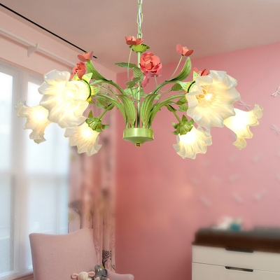 6 Bulbs Scallop Pendant Lamp Traditionalism Green Frosted Glass Chandelier Light Fixture for Living Room