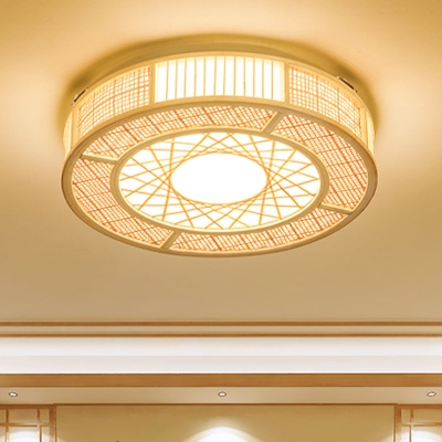 Bamboo Cylindrical Flush Light Japanese 3 Heads Close To Ceiling Lighting In Wood Beautifulhalo Com