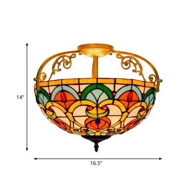 Cut Glass Domed Shade Semi Flush Mediterranean 3 Lights Orange Semi Mount Lighting
