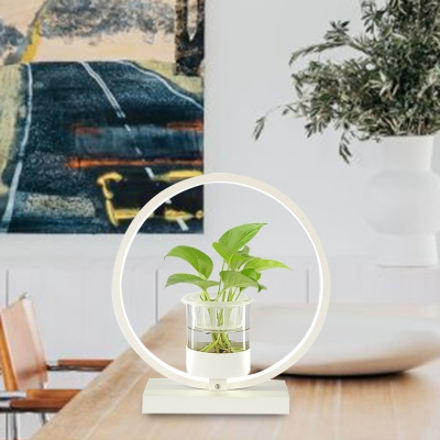 Metal Round Night Table Light Industrial LED Bedroom Nightstand Lamp in Black/Grey/White without Plant