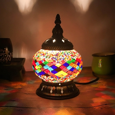 Red/Yellow/Orange 1 Bulb Table Light Vintage Stained Glass Incense Burner Nightstand Lamp for Bar