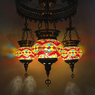 Stained Glass Oval Pendant Chandelier Traditional 3 Lights Restaurant Suspension Pendant Lamp in Orange/Yellow/Blue