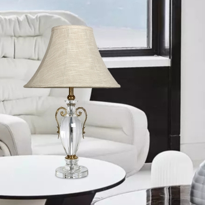 Traditional Bell Nightstand Light 1 Bulb Fabric Table Lamp in Beige with Crystal Accent HL586118 фото