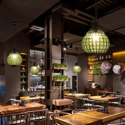 Traditional Globe Down Lighting Pendant 1 Bulb Metal Hanging Ceiling Light in Red/Green/Purple for Restaurant