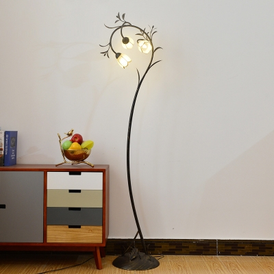 White Glass Floral Floor Light Countryside 3 Heads Living Room LED Stand Up Lamp in Antique Brass