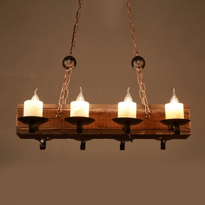 Wood Candle Island Lamp Warehouse 8 Lights Restaurant Linear Chandelier in Beige