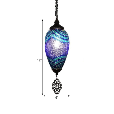 1 Bulb Pendant Lamp Traditionalism Teardrop Stained Glass Hanging Light Fixture in Blue and Purple