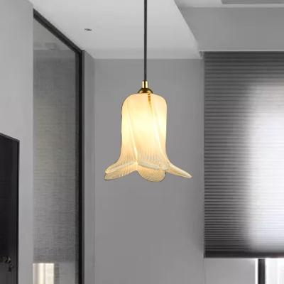 1 Bulb Pendant Light Traditional Flared White/Green/Purple Glass LED Suspension Lamp for Restaurant