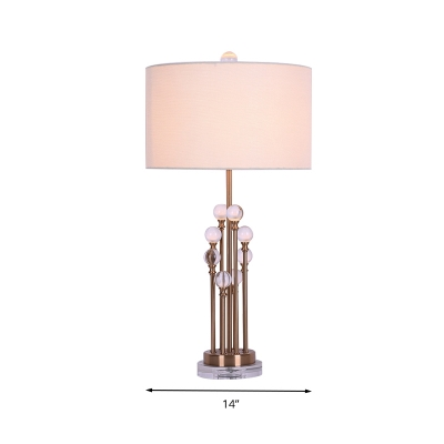 Cylinder Bedroom Table Light Traditionalism Fabric 1 Bulb White Night Lamp with Clear Crystal Orb