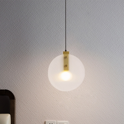 Frosted Glass Round Hanging Lighting Minimalism 1 Head Ceiling Suspension Lamp in Gold