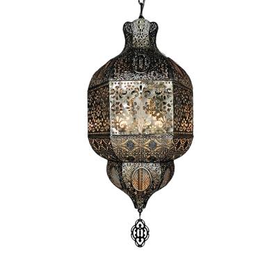 Laser Cut Hanging Chandelier Decorative Metal 3 Bulbs Pendant Lighting Fixture in Bronze