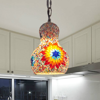 1 Bulb Suspension Lamp Art Deco Gourd Gold/Yellow/Orange Stained Glass Hanging Ceiling Light for Restaurant