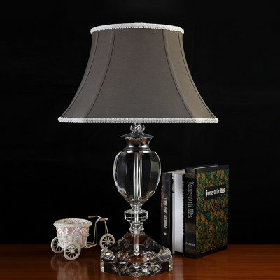 1 Head Table Lamp Simple Living Room Nightstand Light with Urn K9 Crystal in Gray, HL586122