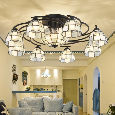 9/11 Lights Domed Shaped Ceiling Mounted Light Tiffany White Cut Glass Semi-Flush Mount for Living Room