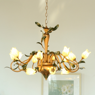 Brass Flower Hanging Chandelier Pastoral Frosted Glass 15 Lights Living Room Ceiling Pendant