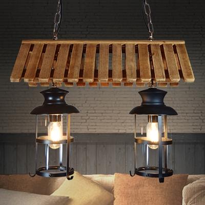 Clear Glass Kerosene Pendant Industrial 2 Lights Living Room Island Lighting in Black, HL585407