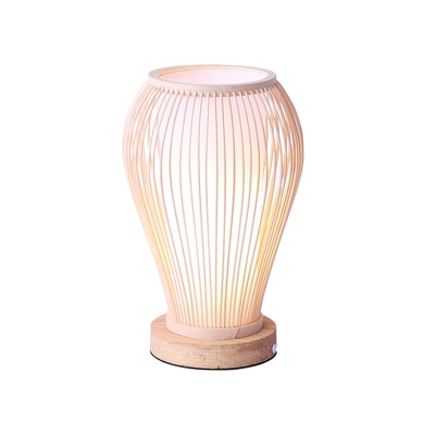 Curved Bamboo Task Light Asian 1 Bulb White Small Desk Lamp with Inner Cylinder Shade