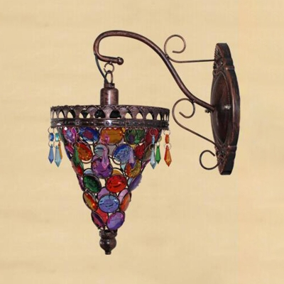 Metal Conical Sconce Light Vintage 1 Head Wall Mounted Lighting in Blue/Orange/Purple for Bedroom