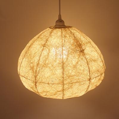 Teardrop Pendant Lighting Japanese Bamboo 1 Bulb Ceiling Suspension Lamp in Beige