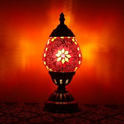 Teardrop Shaped Bedroom Table Light Vintage Stained Glass 1 Bulb Red/Orange/Red and Blue Nightstand Lamp