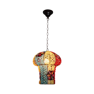 1 Bulb Mushroom Pendulum Light Vintage Yellow/Blue Metal Suspended Lighting Fixture for Restaurant