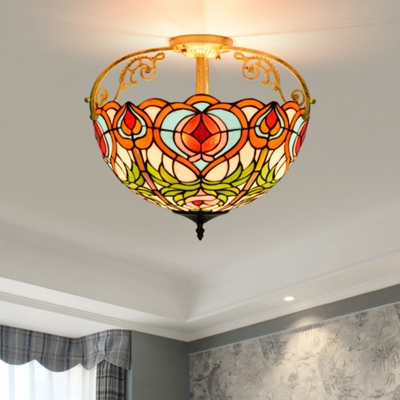 2/3 Lights Peach Semi Mount Lighting Victorian Red Stained Glass Ceiling Mounted Light Fixture