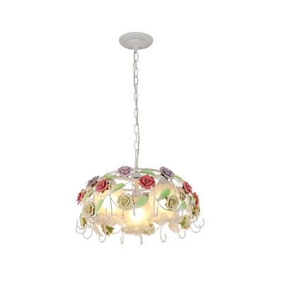 3 Bulbs Bird Nest Chandelier Light Pastoral White Metal LED Pendant Lamp for Bedroom