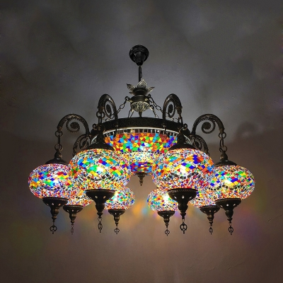 9 Lights Dome and Oval Chandelier Traditional Stained Glass Hanging Lamp Kit in Bronze
