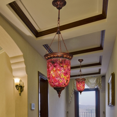 Cylinder Corridor Pendant Light Fixture Traditional Stained Glass 1 Head Red Hanging Lamp