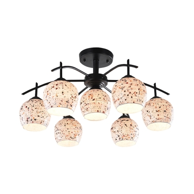 Domed Shaped Semi Flush 6/7/8 Lights Stained Glass Mediterranean Ceiling Light Fixture in Black