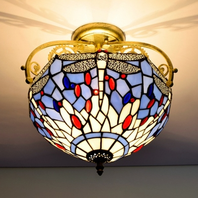 Dragonfly Stained Glass Ceiling Mount Mediterranean 2 Lights Red/Beige/Orange Semi Flush Light Fixture