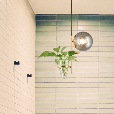 Industrial Global Pendant Light 1 Head Milk White/Smoke Grey Glass Hanging Light in Black/Gold with Plant Deco