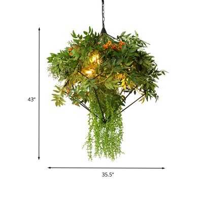 Metal Green Chandelier Lamp Rhombus 3 Lights Industrial LED Hanging Ceiling Light with Plant Decor